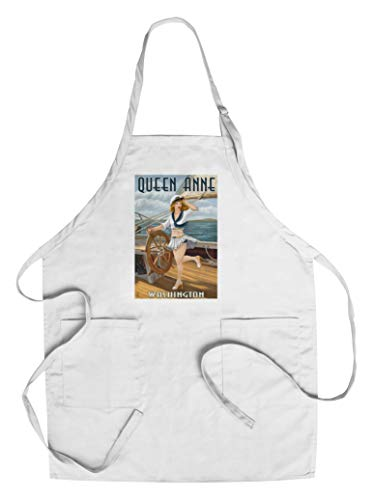 Queen Anne, Washington - Pinup Girl Sailing (Cotton/Polyester Chef's Apron)