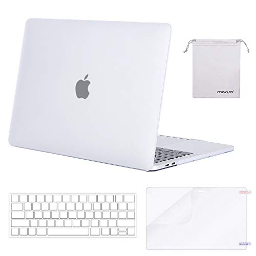 MOSISO Plastic Hard Case & Keyboard Cover & Screen Protector & Storage Bag Compatible Newest MacBook Pro 13 Inch, Pure Fog