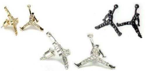 3 Pairs of Michael Air Jordan Jumpman Black, Gold, and Silver Tone CZ Stud Hip Hop Bling Earring by JD