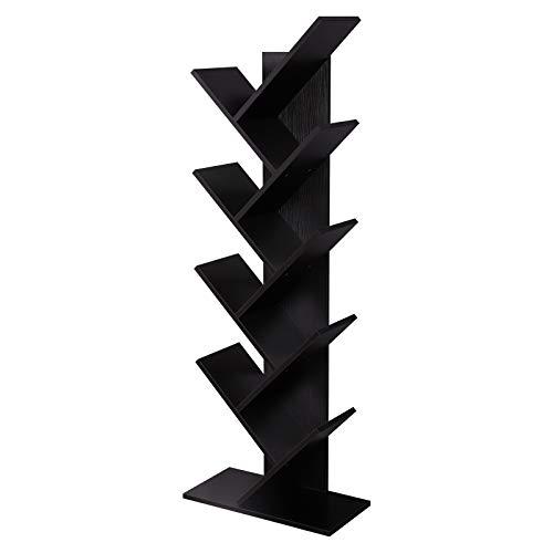 VASAGLE 8-Shelf Tree Bookshelf, Wooden Bookcase Display Holder Organizer, Espresso ULBC11BR