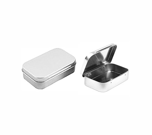 Cafe Cubano® Rectangular Empty Hinged Tin Box Containers With Solid Hinged Top. Blank Altoid Tin: Use for First Aid Kit, Survival Kits, Storage, Herbs, Pills, Crafts and More. (3, Solid Top: 3.63
