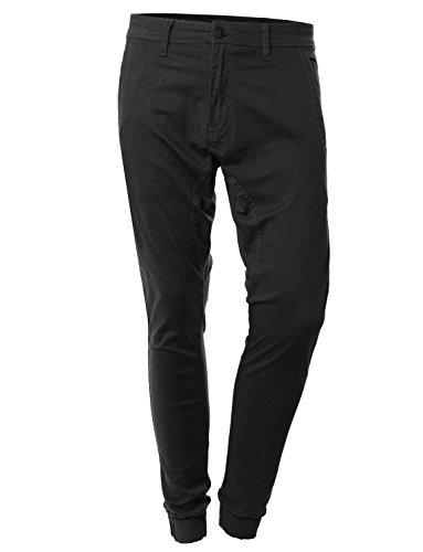 OLLIN1 Mens Premium Slim Fit Harem Twill Jean Jogger Pants