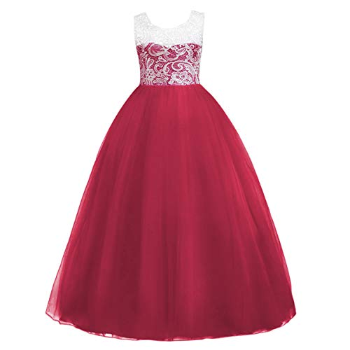 - Toddler Girls Kids Floor Length Vintage Floral Lace Tulle Bridesmaid Dress A Line Wedding Pageant Party Princess First Communion Dance Formal Prom Long Maxi Evening Ball Gowns Burgundy 5-6