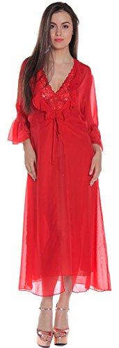 Women's Chiffon Long Robe #3074 (O/S, Red) (Chiffon Robe Shirley)