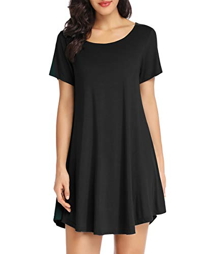 LATWIIV Tunic Dresses for Women Summer Casual Loose Fit Short Sleeve Swing Midi Dress Black 2XL ()