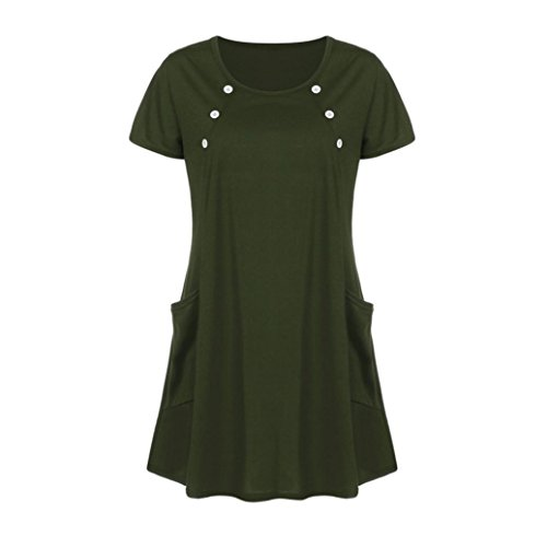 (AmyDong Hot Sale! Ladies Dress, Lady's Skirt Women Loose Pocket Casual O Neck Button Short Sleeve Mini Dress Leisure Relaxed Polyester (XL, Green))