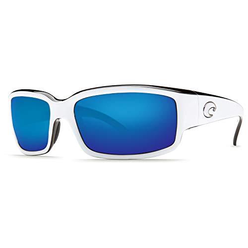 Costa Del Mar Sunglasses - Caballito- Glass / Frame: White and Black Lens: Polarized Blue Mirror Wave 580 ()