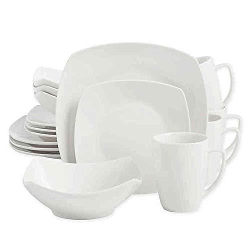Soft Square 16-Piece Dinnerware Set in White