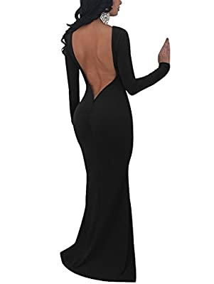 TOB Women's Sexy Long Sleeve Backless Ruched Evening Prom Mermaid Dress