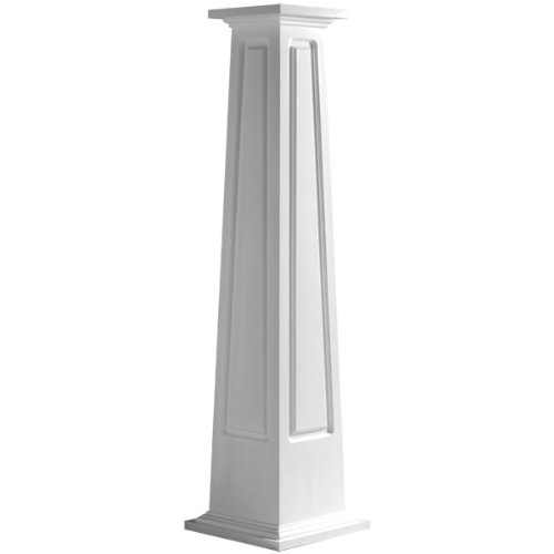 Endura-Craft Craftsman Column Wrap (Cellular PVC) Tapered, Raised Panel, Standard Base & Capital, 12'' Square Bottom Shaft x 8'' Square Top Shaft x 6' Overall Height by Pacific Columns
