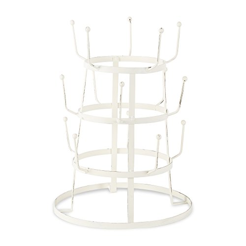 Home Traditions 3 Tier Vintage Metal Wire Mug Tree Stand Antique White, 15 Mug Capacity