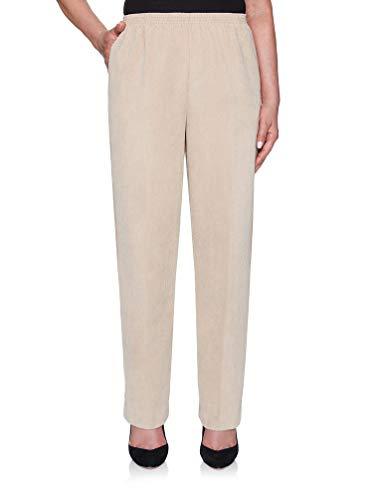 Alfred Dunner Classics Elastic Waist Corduroy Pants Tan 16P M -