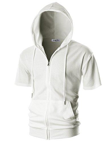 (OHOO Mens Slim Fit Short Sleeve Lightweight One-Tone Zip-up Hoodie with Kanga Pocket/DCF056-WHITE-XL)