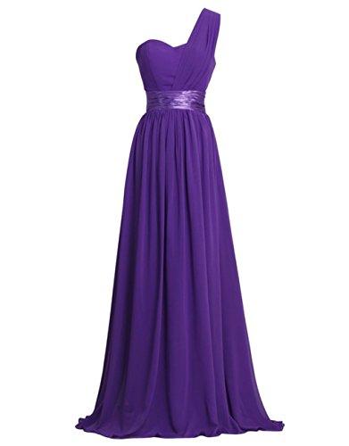 Prom Dresses Bridesmaid Annie's Chiffon Bridal Women's Purple Shoulder Gowns One Long xqwOY8Xw
