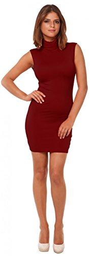 Glamour Empire. Mujer elástico vestido mini ajustado sin mangas cuello alto. 462 Carmesí