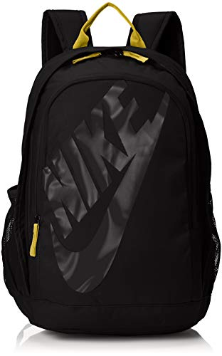 - Nike Sportswear Hayward Futura Backpack for Men, Large Backpack with Durable Polyester Shell and Padded Shoulder Straps, Black/Amarillo/Black