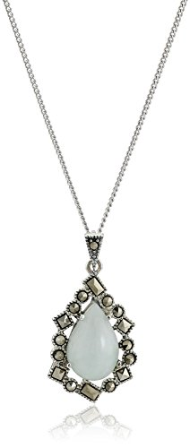 Sterling Silver Marcasite Green Jade Teardrop Curb Chain Pendant Necklace, 18