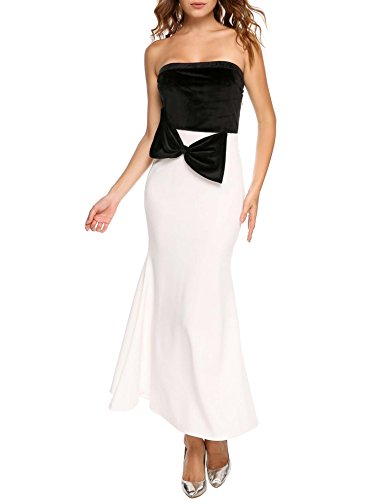 De De Bowknot De Pescado Cola Terciopelo Maxi De Sin Mujer Angvns Vestido Tirantes Delgada Tubo Blanco Patchwork twFUxXzq
