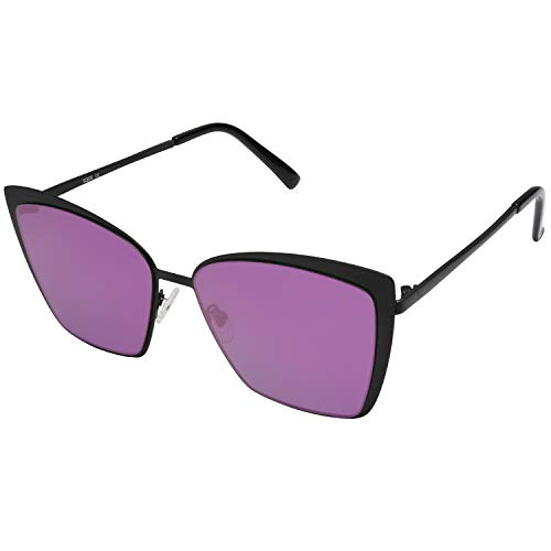 SOJOS Cateye Sunglasses for Women Fashion Mirrored Lens Metal Frame SJ1086 with Matte Black Frame/Purple Mirrored Lens (The Most Expensive Woman In The World)