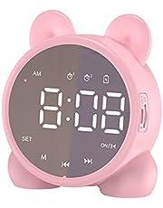 DASNTERED Digitale wekkers voor kinderen, met Bluetooth-luidspreker, stereoluidsprekers wekker radio's met led-spiegelscherm, draagbare thuiskantoor slaapkamer wekker (roze)