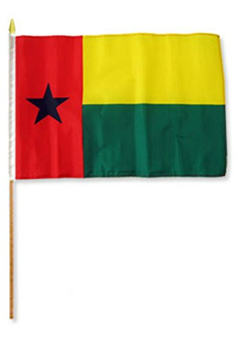 ALBATROS 12 inch x 18 inch (6 Pack) Guinea Bissau Stick Flag with Wood Staff for Home and Parades, Official Party, All Weather Indoors Outdoors