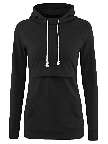 Liu & Qu Womens Nursing Hoodie Long Sleeves Sweatshirt Breastfeeding Layered Top Pocket Casual Clothes by Liu & Qu (Image #2)