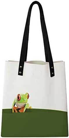 Reusable Women's PU Leather,Red Eyed Tree Frog Perches on a Long Slim Leaf Tropic Rainforest Animal Wild Life,Work Tote Travel Shopping Bags