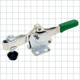 Horizontal-Handle Toggle Clamp: Stainless Steel, Open Arm, Flanged Base by Carr Lane Manufacturing