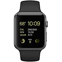Apple Watch Sport 42mm Space Gray Aluminum Case with Black Band (2015 model) (Certified Refurbished)
