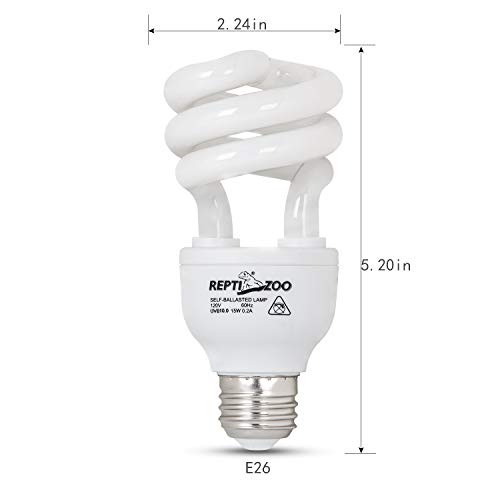 REPTIZOO Energy Saving Lamps UVB Bulb,Spiral Compact 15 Watts UVB 10.0 Reptile Light Bulb Fit for Desert Type Reptile/Snake/Lizard/Insect/Leopard Tortoise