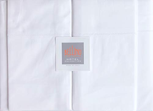 Bellino Hotel Collection Italy Solid White Luxury Queen 4pc Sheet Set 100% Cotton Percale ()