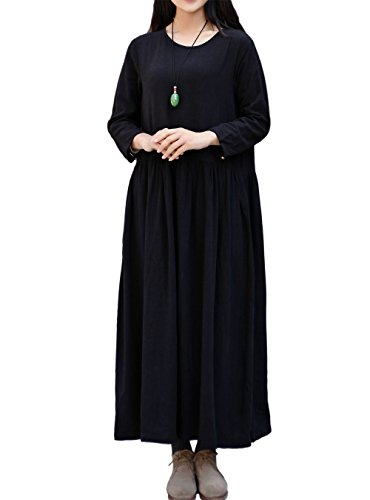 LifeShow Women's Spring/Fall Linen Dress Large Size Cotto...