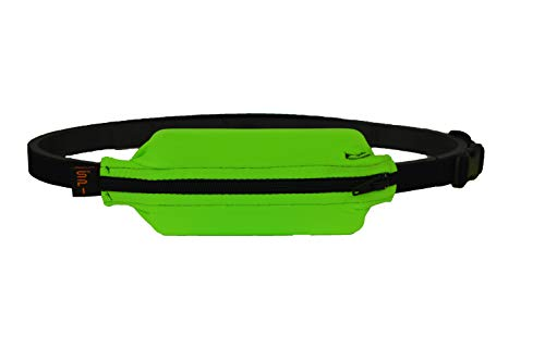 SPIbelt Kids No-Bounce Belt with Hole for Insulin Pump, Medical Devices or Headphones for Active Kids! (Lime with Black Zipper)