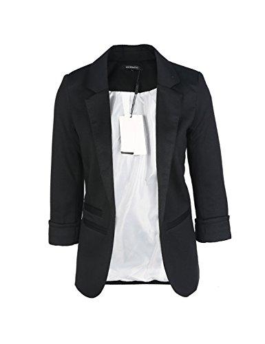 Fitted Black Blazer (HAOYIHUI Women's Casual Work Office Open Front Cardigan Blazer Jacket(S,Black))