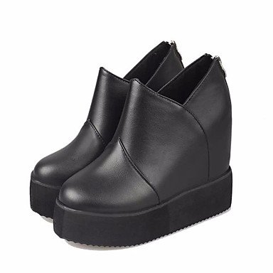 LvYuan Boots Wedge Mary Feather cn35 Casual 5 Women's Heel Jane ggx Winter 5 PU uk3 us5 black eu36 Ewfw8
