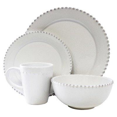 Bianca Bead Round 16 Piece Dinnerware Set Color: White ()