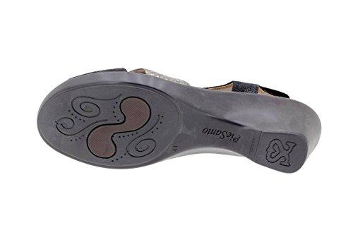Komfort Damenlederschuh PieSanto 1861 Sandale mit herausnehmbarem Fußbett bequem breit Negro-Acero