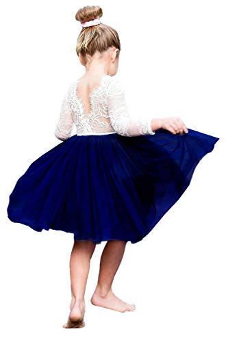 (2Bunnies Girl Rose Lace Back A-Line Straight Tutu Tulle Party Flower Girl Dresses (Navy Long Sleeve Knee,)