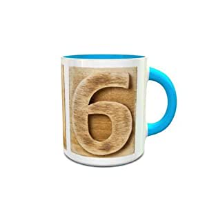 White and Blue Ceramic Mug with Wooden Colored Number 6 Design 433