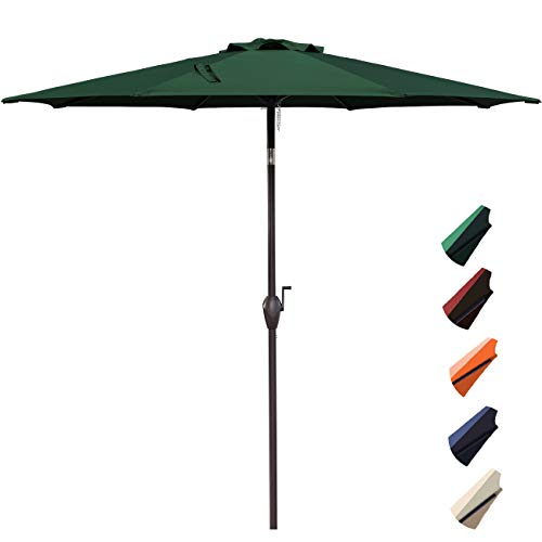 9 Market Umbrella Base (RUBEDER 9' Patio Umbrella Outdoor Market Table Umbrella with 8 Sturdy Ribs,Wing Vent,Push Button Tilt & Crank (9 Ft, Dark Green 2))