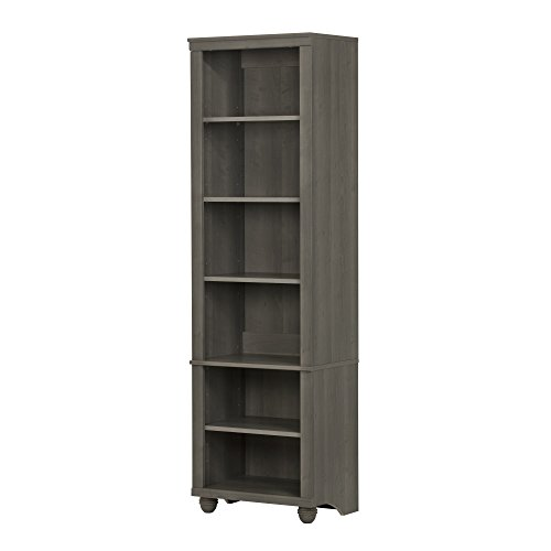 South Shore 10324 Hopedale Narrow 6-Shelf Storage Bookcase, Gray - Modern Bookcase Maple