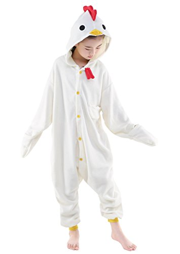 NEWCOSPLAY Unisex Children Chicken Pyjamas Halloween Kids Costume (105) -