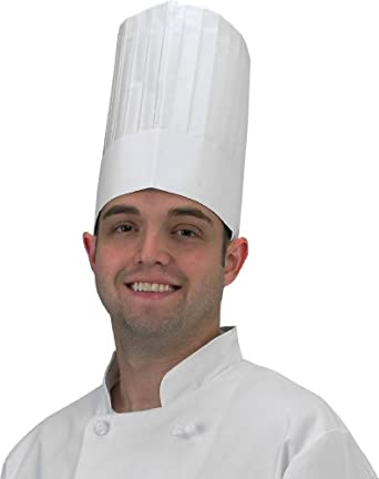 """Chef Revival DCH100 Paper Euro Style Disposable Chef Hat with Linen Finish, 9"""" Height (4 Boxes of 25)"""