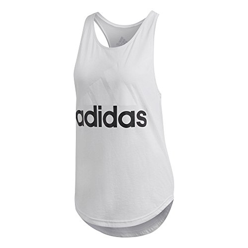 adidas Women's Essentials Linear Loose Tank Top, White/Black, X-Small