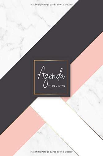 Agenda 2019-2020: Agenda Scolaire de Juillet 2019 à Juillet 2020, Semainier simple & graphique, série Marbre, motif marbre blanc, or, rose et noir par  YesOuiPages