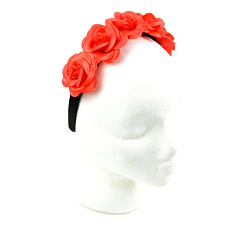 Mask-It 50222 Mask-It (Mau63) Mask-It Day of The Dead Headband with Roses, 1 Pc (Day Of Dead Mask)