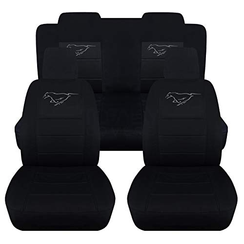 Totally Covers Fits 2005-2010 Ford Mustang Black Seat Covers with Pony: Black with Charcoal - Full Set (22 Colors) Coupe/Convertible V6/GT Solid/Split Bench 50/50 5th Gen 2006 2007 2008 2009