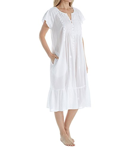 (La Cera 100% Cotton Woven Cap Sleeve Embroidered Gown (1166G))