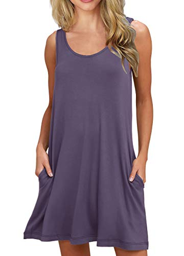 PrinStory Women's Summer Casual Sleeveless Swing Dress Sundress with Pockets Purple Gray M ()