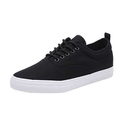 (♡QueenBB♡ Men's Fashion Sneaker Canvas Casual Shoes Low Top Skate Shoe Lace Up Comfortable Walking Sneakers Black)